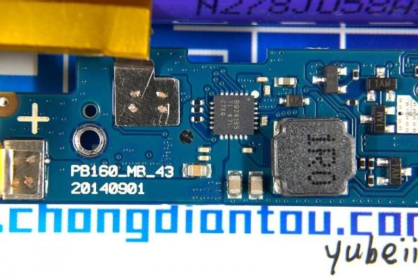 小米16000mah的电路中使用了充放电二合一的ti bq24195方案,这颗ic在