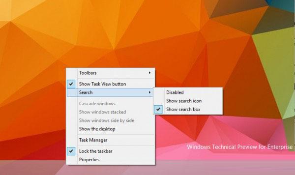 windows10 build 9879新功能:任务栏搜索框隐藏